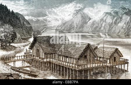 Reconstruction of stilt houses or pile dwellings in Lake Zurich, Switzerland, Europe, Pfahlbauten oder Stelzenbauten, - Stock Photo