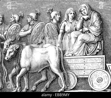 Germanic women are captered by the Romans, detail, the ancient Roman victory columnn of Marcus Aurelius on Piazza - Stock Photo