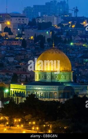 The Dome of the Rock on the Temple Mount illuminated at twilight Jerusalem Israel - Stock Photo