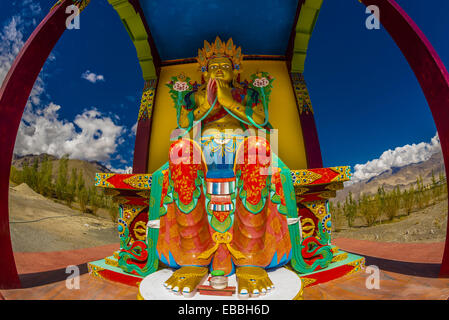 A statue of Chamspa, the Compassionate One, a Maitreya (Future Buddha), Stok Monastery, Leh Valley, Ladakh, Jammu - Stock Photo