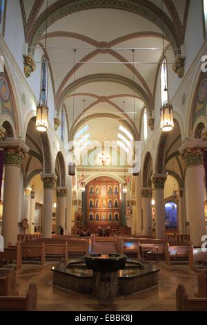 The interior view of the Cathedral Basilica of St. Francis of Assisi. Santa Fe. New Mexico. USA. - Stock Photo