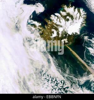 A heavy plume of ash from Iceland´s Eyjafjallajoekull volcano is visible travelling over the Atlantic in this Envisat - Stock Photo