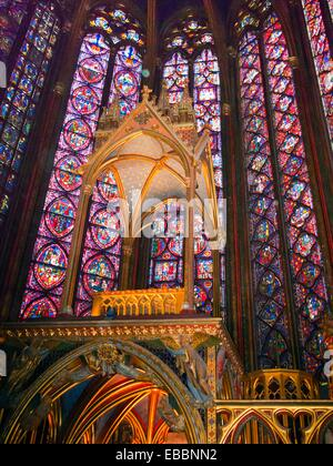 Stained glass in Sainte Chapelle  Paris  France - Stock Photo