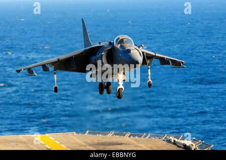 PACIFIC OCEAN (Sept. 2, 2011) An AV-8B Harrier assigned to the Red Dragons of Marine Medium Helicopter Squadron - Stock Photo