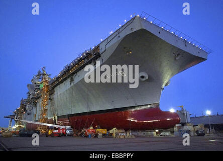 A bow view of PCU Makin Island (LHD 8), which is currently under construction in Pascagoula, Miss. Makin Island, - Stock Photo