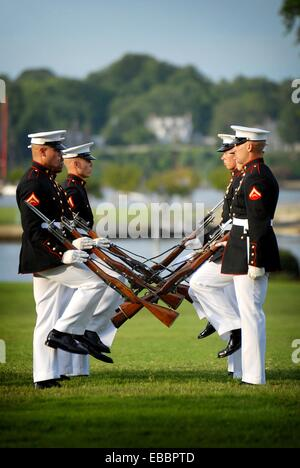110727-N-OA833-004 ANNAPOLIS, Md  July 27, 2011 Members of the U S  Marine Corps Silent Drill team perform at the - Stock Photo