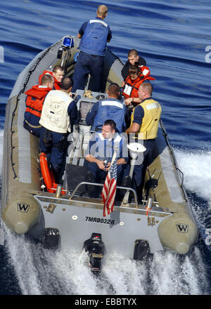 GULF OF OMAN (Nov. 8, 2008) Sailors from the guided-missile cruiser USS Monterey (CG 61) participate in boat officer - Stock Photo