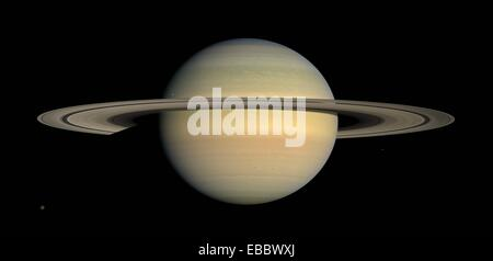 Cassini--The Mission Continues  As Saturn advanced in its orbit toward equinox and the sun gradually moved northward - Stock Photo