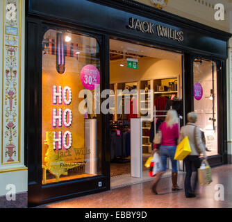 Trafford Centre shopping centre in Manchester. Ho Ho Ho 30% off display at Jack Wills store on Black Friday Sales - Stock Photo