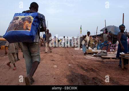 Camp for internally displaced persons at  Mpoko airbport in Bangui, Central African Republic - Stock Photo