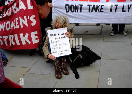 London, UK. 28th November, 2014. A protest march was held in London against fuel poverty , targeting the Institute - Stock Photo
