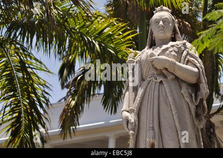 Mauritius, Port Louis, the Queen Victoria's statue, by the Parliament House - Stock Photo