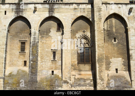 Papal Palace (Palais des Papes) in Avignon city. Provenza-Alpes-Cotes d'Azur region, Vaucluse department. France. - Stock Photo