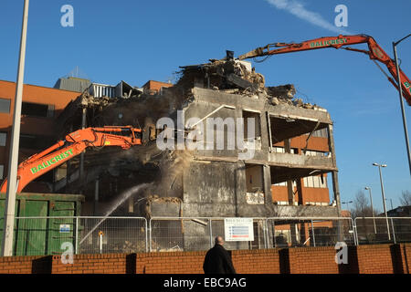 Demolition Machines Tear Down A Building Near Heathrow