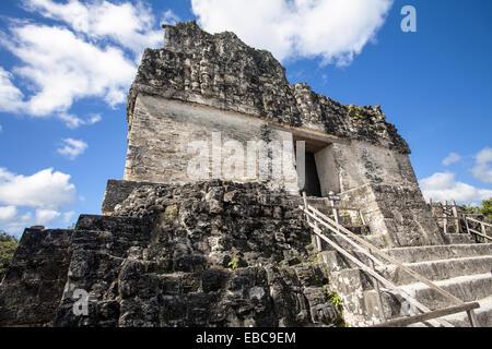 Guatemala Tikal Templo II Templo de las Mascaras. - Stock Photo