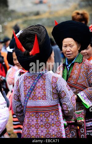 Short Horn Miao women in the region of Liupanshui in western Guizhou, China - Stock Photo