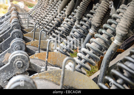 Springs and pistons inside of agricultural machinery in San Ramon, Canelones, Uruguay - Stock Photo