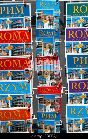 Italy, Lazio, Rome, Guidebooks on Display Outside a Shop - Stock Photo