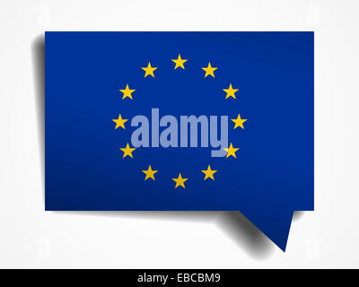 European Union flag paper 3d realistic speech bubble on white background - Stock Photo