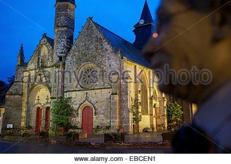 Church of Saint Gilles, Malestroit, Morbihan, Brittany, France - Stock Photo