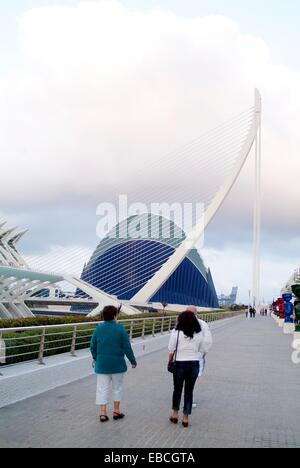 Tourists visiting the city of arts and sciences of Valencia, Spain, Europe - Stock Photo
