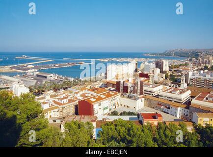 Overview from the castle. Denia Alicante province Comunidad Valenciana Spain. - Stock Photo