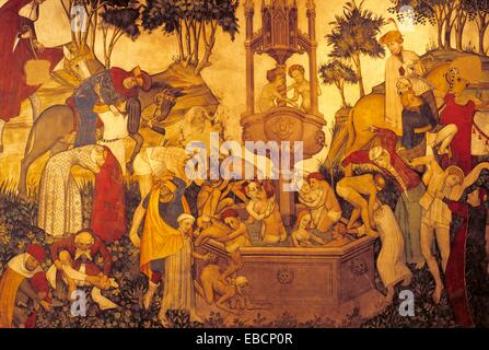 Nine Worthies fresco in the Baronial Hall, Castello della Manta, near Saluzzo, Piedmont region, Italy, Europe - Stock Photo