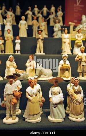 Bouches du Rhône Christmas Christmas market color image craft craftsman creche crib department display Europe figurine - Stock Photo