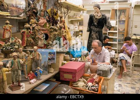 santons workshop in San Gregorio Armeno street Naples Campania region southern Italy Europe - Stock Photo