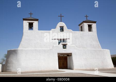 USA, New Mexico, Isleta Pueblo, Saint Augustine Mission, originally built in 1612. - Stock Photo