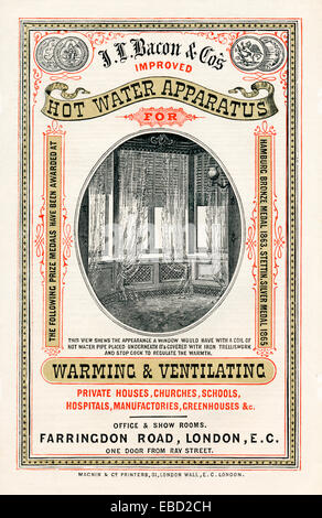 JL Bacon Hot Water Apparatus, 1870 insert ad for the German heating engineers and their London operation, radiators - Stock Photo