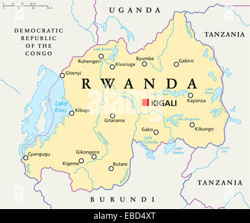 Rwanda Political Map with capital Kigali, national borders, important cities, rivers and lakes. English labeling - Stock Photo