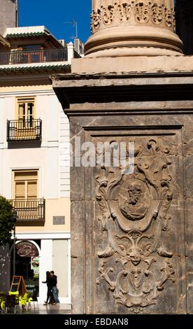 Cathedral column of Saint Mary Plaza del Cardinal Belluga City of Murcia South Eastern Spain Europe. - Stock Photo