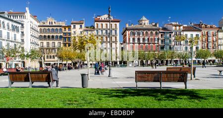 Plaza del Castillo in Pamplona city centre, Navarre, Spain - Stock Photo