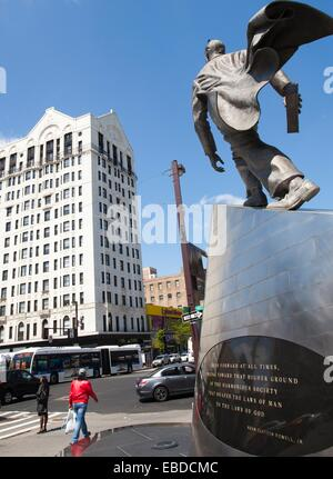 Monument by Branly Cadet in honour of the black Harlem civil rights leader Adam Clayton Powell Jr., 125th Street, - Stock Photo