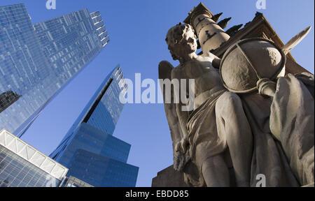Christopher Columbus statue Time Warner Center Columbus Circle Midtown Manhattan New York City USA. - Stock Photo