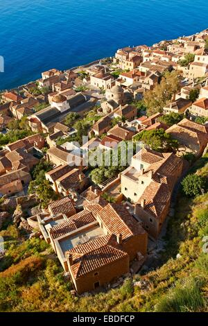 Arial view of Monemvasia             Byzantine Island catsle town with acropolis on the plateau  Peloponnese Greece - Stock Photo