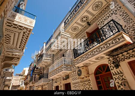 Xysta on the houses of Pygri, geometic patterned decorations in black and white that adorn the houses of the Mastic - Stock Photo