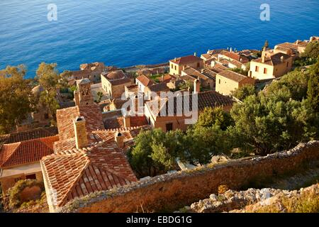Arial view of Monemvasia             Byzantine Island catsle town with acropolis on the plateau  Peloponnese, Greece - Stock Photo