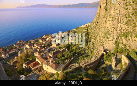 Arial view of Monemvasia Island, Peloponnese, Greece. - Stock Photo