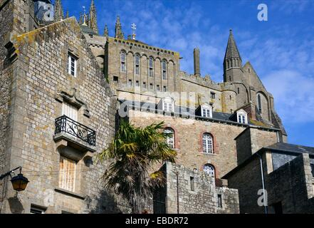 Benedictine abbey Mont Saint-Michel, listed as World Heritage by UNESCO, Normandy , France. - Stock Photo