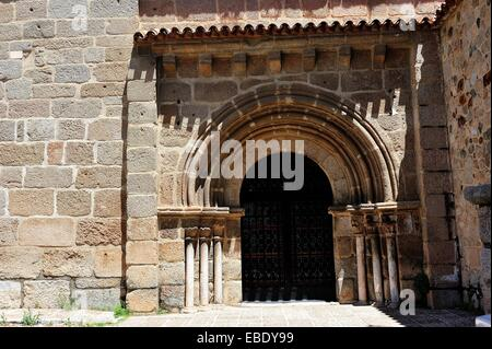Romanesque gateway in church of Santa Eulalia, Merida, Badajoz province, Extremadura, Spain - Stock Photo
