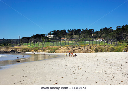 Elegant homes overlook the the famed Pebble Beach Golf Course at Carmel-by-the-Sea, California. - Stock Photo