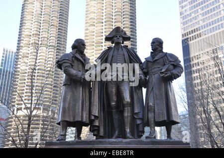 Heald Square Monument, a bronze sculpture of General George Washington, Robert Morris, and Haym Salomon in Chicago. - Stock Photo