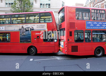 Two double decker buses collide, Oxford Street, London - Stock Photo