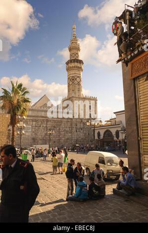 Umayyad Mosque minaret from Al-Hamidiyah Souq in the old city of Damascus. The Minaret of Qaitbay was constructed - Stock Photo