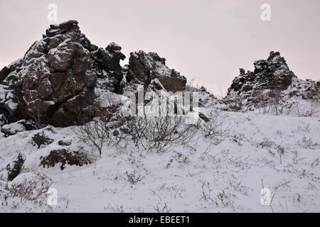 The unusual rock formations at Dimmuborgir, near Mývatn in Iceland - Stock Photo