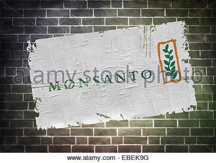 Monsanto logo icon flag poster - Stock Photo