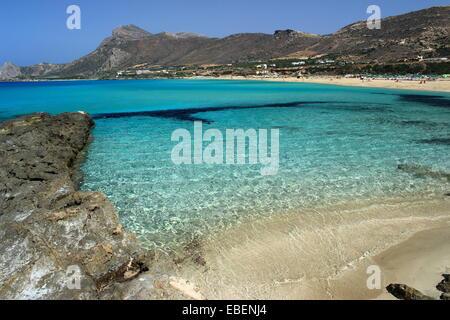 Turquoise water - Falasarna beach, Crete island, Greece - Stock Photo