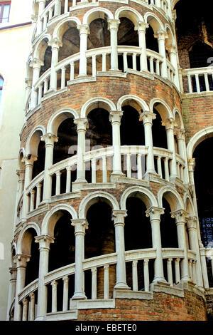 Venice Italy spiral staircase Scala Contarini del Bovolo - Stock Photo